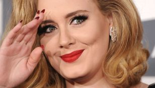 adele cat eye liner makeup red lipstick main
